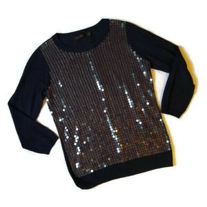 The Limited Holiday Party Navy Sequin Sweater S